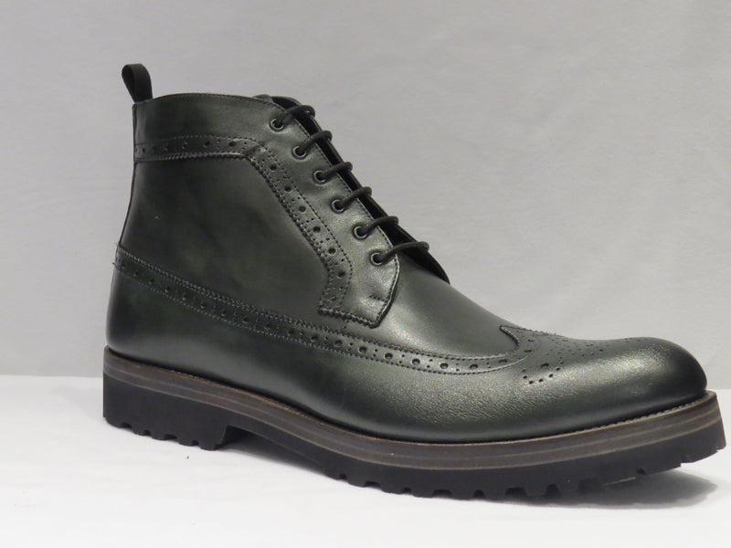 Hunter Green Wingtip Lace Up Boot