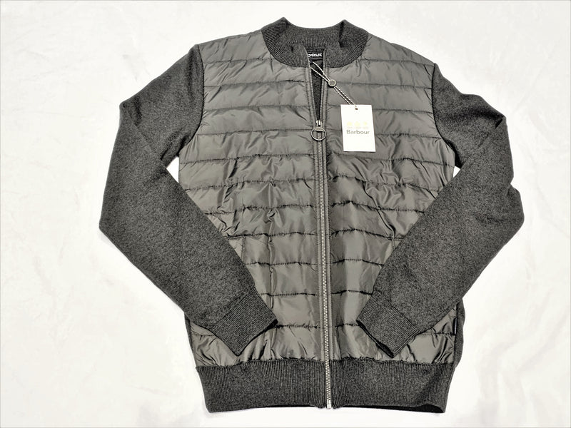 Barbour Gray Knit Sleeve Zipper Front Jacket