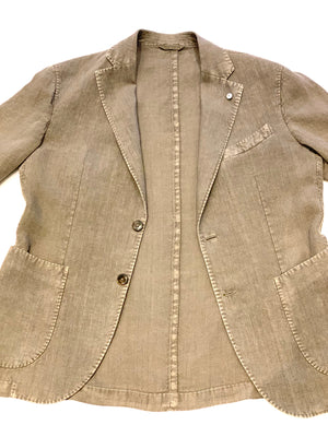 LBM Sport Jacket: Taupe Slim Fit, with Unlined Body & Soft Shoulder