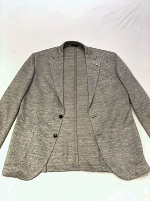 LBM Knit Sport Jacket: Stone Grey Slim Fit, with Unlined Body & Soft Shoulder