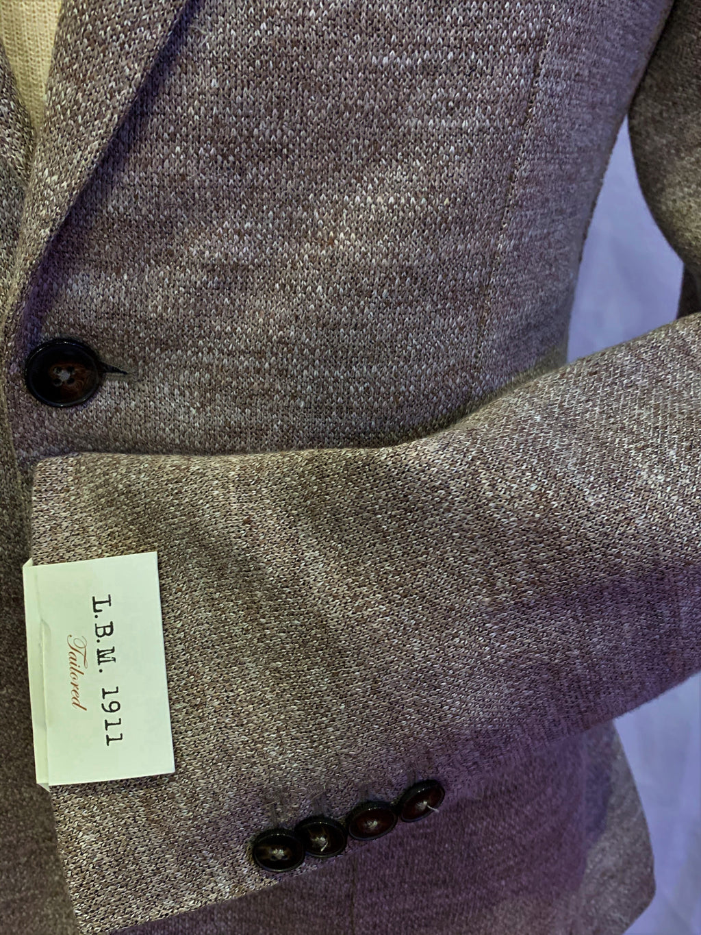 LBM Knit Sport Jacket: Taupe Slim Fit, with Unlined Body & Soft Shoulder