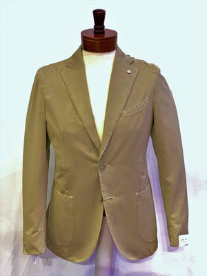 LBM Sport Jacket: Tan Slim Fit, Combed Cotton, with Unlined Body & Soft Shoulder