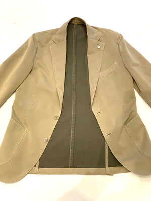 LBM Sport Jacket: Tan Slim Fit,  Cotton Flax with Unlined Body & Soft Shoulder