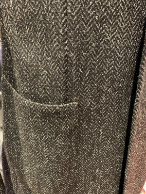 LBM Over Coat: Dark Grey Herringbone Wool Tweed with Patch Pockets