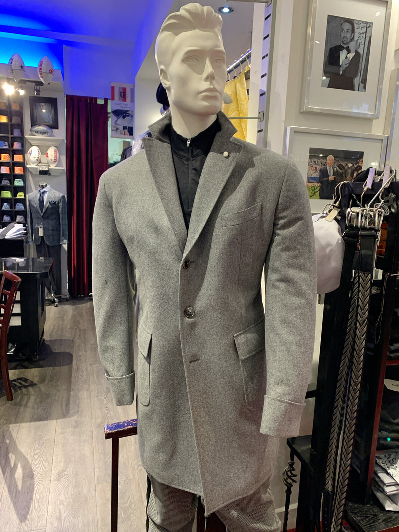 LBM Over Coat: Light Grey Flannel Wool with Back Strap & Cuffed Sleeves