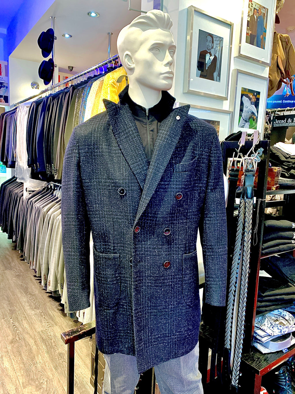 LBM Over Coat: Double Breasted Navy Plaid Wool with Back Strap