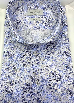 Bruun & Stengade Shades of Blue and Grey Floral Sport Shirt