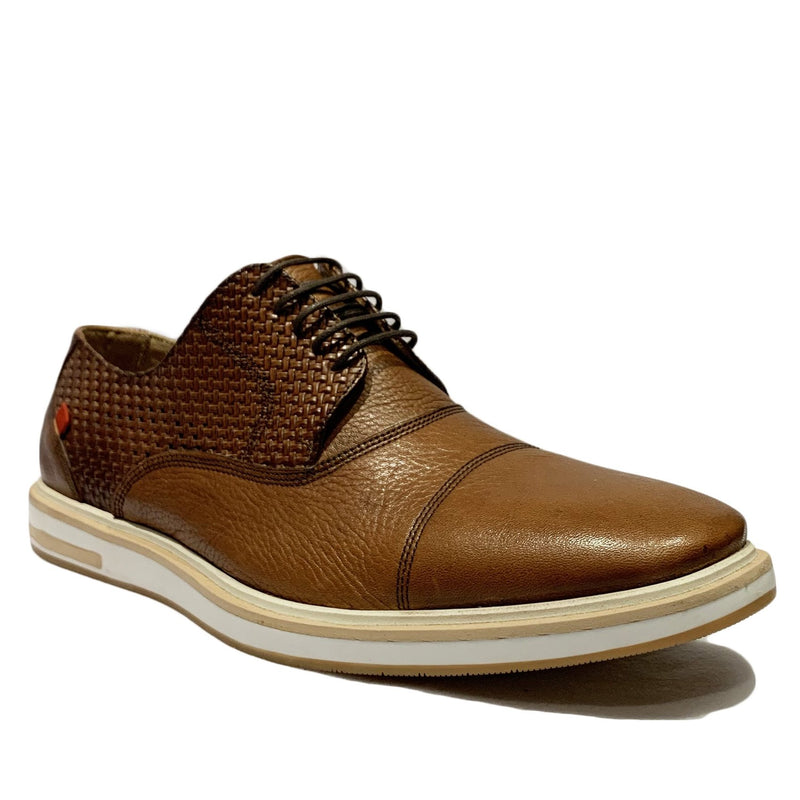 Cognac Brown Leather Cap Toe Lace Up Sneaker Shoes