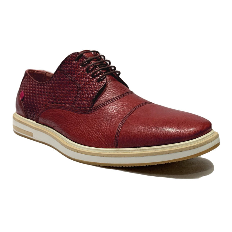 Red Leather Lace Up Cap Toe Sneaker Shoes