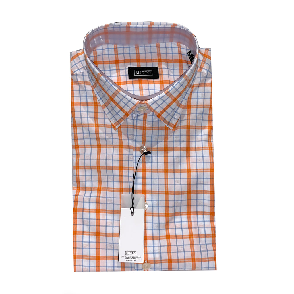 Mirto Men's White & Orange Plaid Sport Shirt