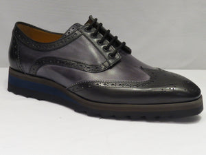 Black & Grey Multi-Toned Wingtip Sneaker Lace Up Shoes w/ Spanish Toe
