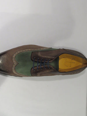 Jose Real Brown & Green Multi-Toned Wingtip Sneaker Lace Up Shoes w/ Spanish Toe