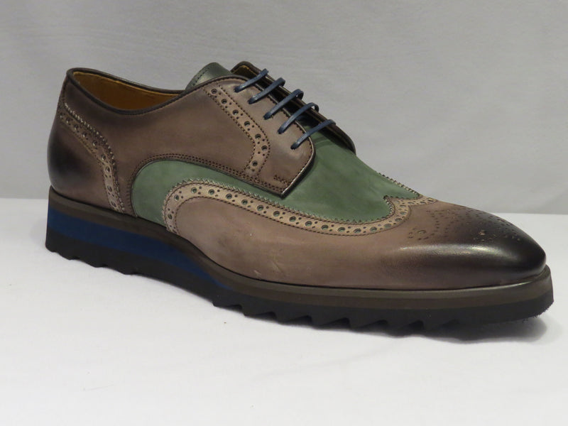 Brown & Green Multi-Toned Wingtip Sneaker Lace Up Shoes w/ Spanish Toe
