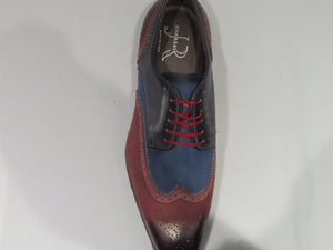 Wine & Blue Multi-Toned Wingtip Sneaker Lace Up Shoes w/ Spanish Toe
