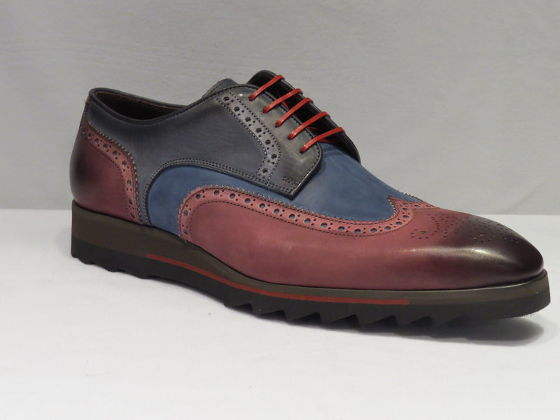 Jose Real Wine & Blue Multi-Toned Wingtip Sneaker Lace Up Shoes w/ Spanish Toe
