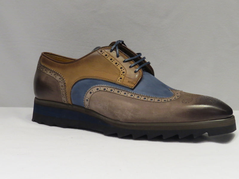 Blue & Brown Multi-Toned Wingtip Sneaker Lace Up Shoes w/ Spanish Toe