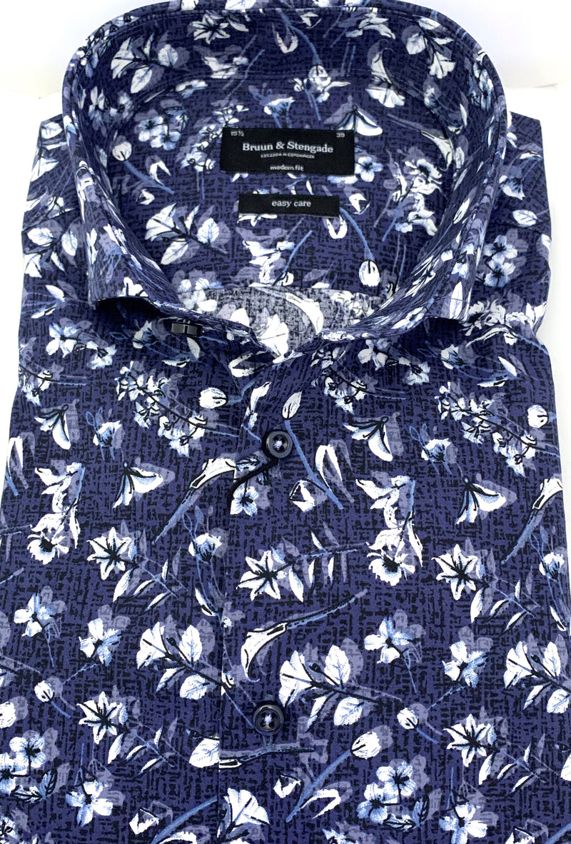 Bruun & Stengade Navy and White Floral Sport Shirt