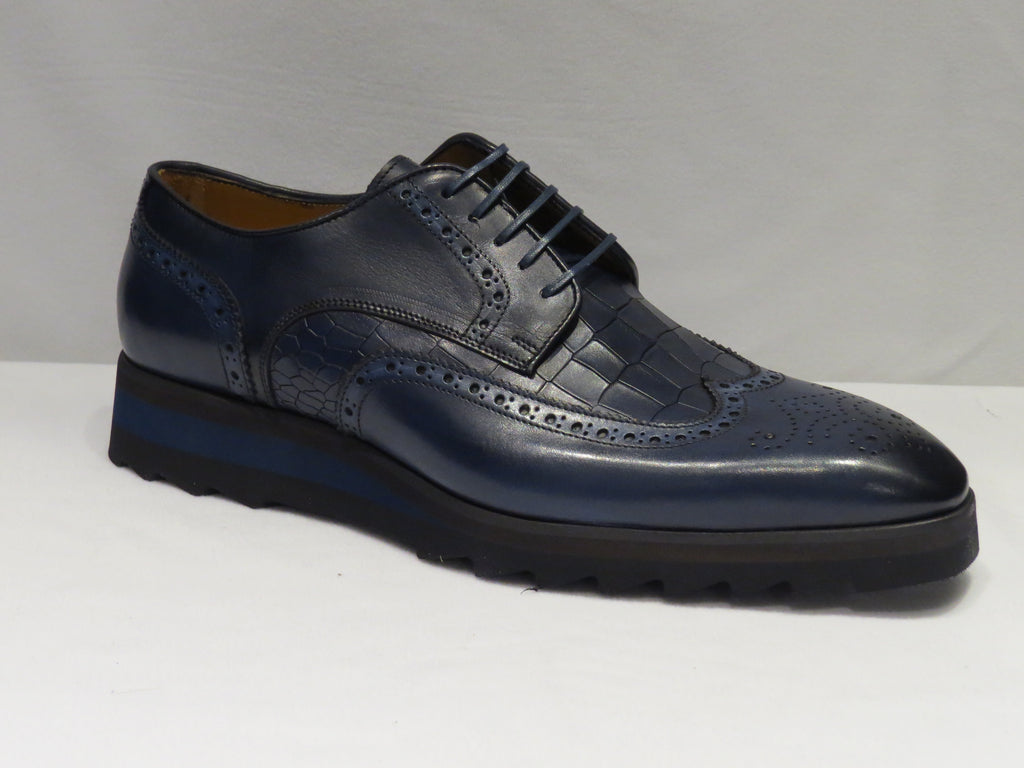 Navy Blue Croco Print Wingtip Sneaker Lace Up Shoes