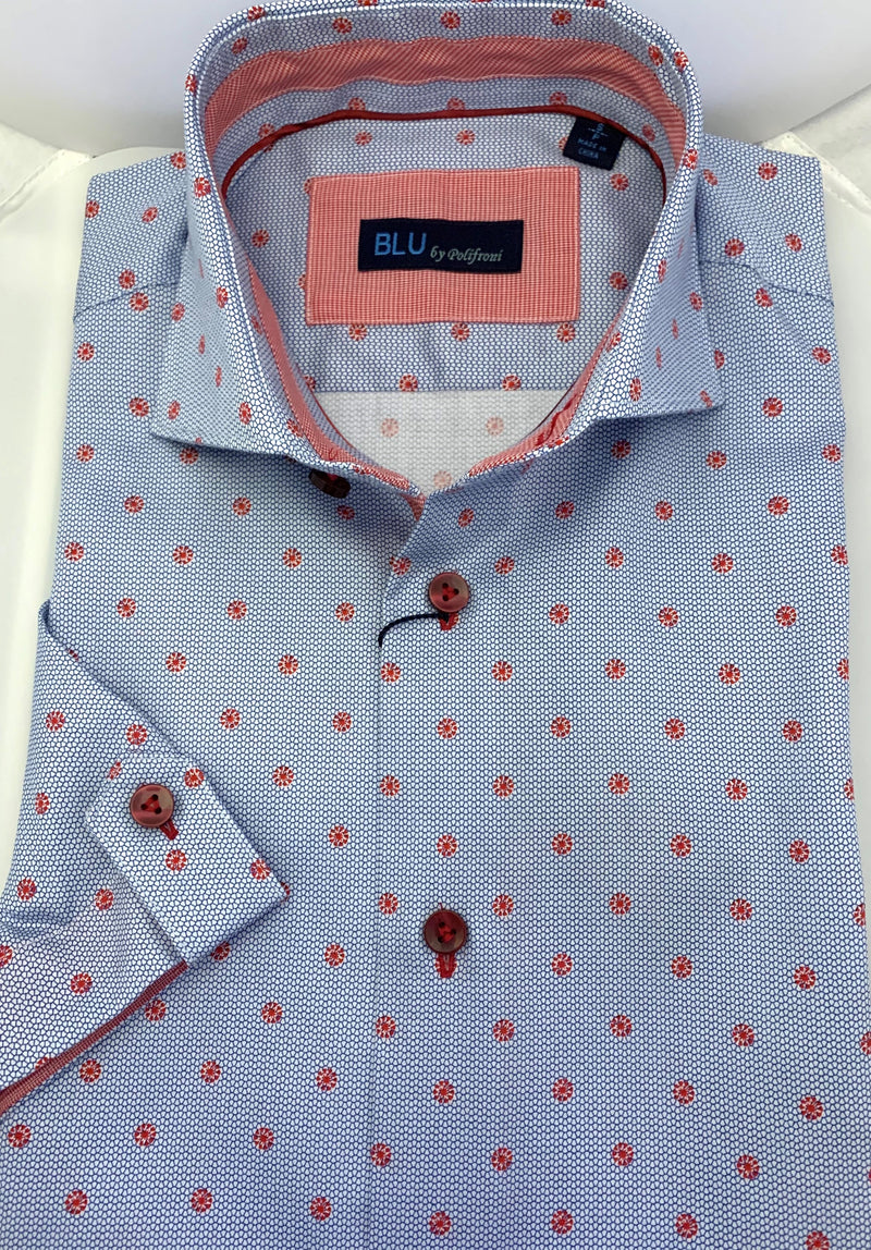 BLU by Polifroni Light Blue with Red Polka Dot Short Sleeves Sport Shirt