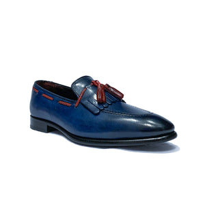 Emilio Franco Blue Wingtip Loafers Shoes with Red Tassels