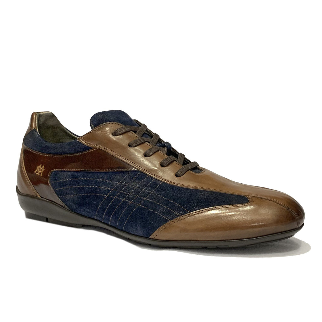 Mezlan Brown & Navy Leather Lace Up Sneakers