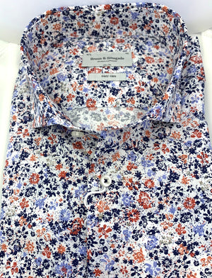 Bruun & Stengade Shades of White, Blue and Red Floral Sport Shirt