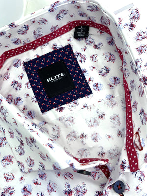 ELITE  White & Multi Colored Floral Sport Shirt