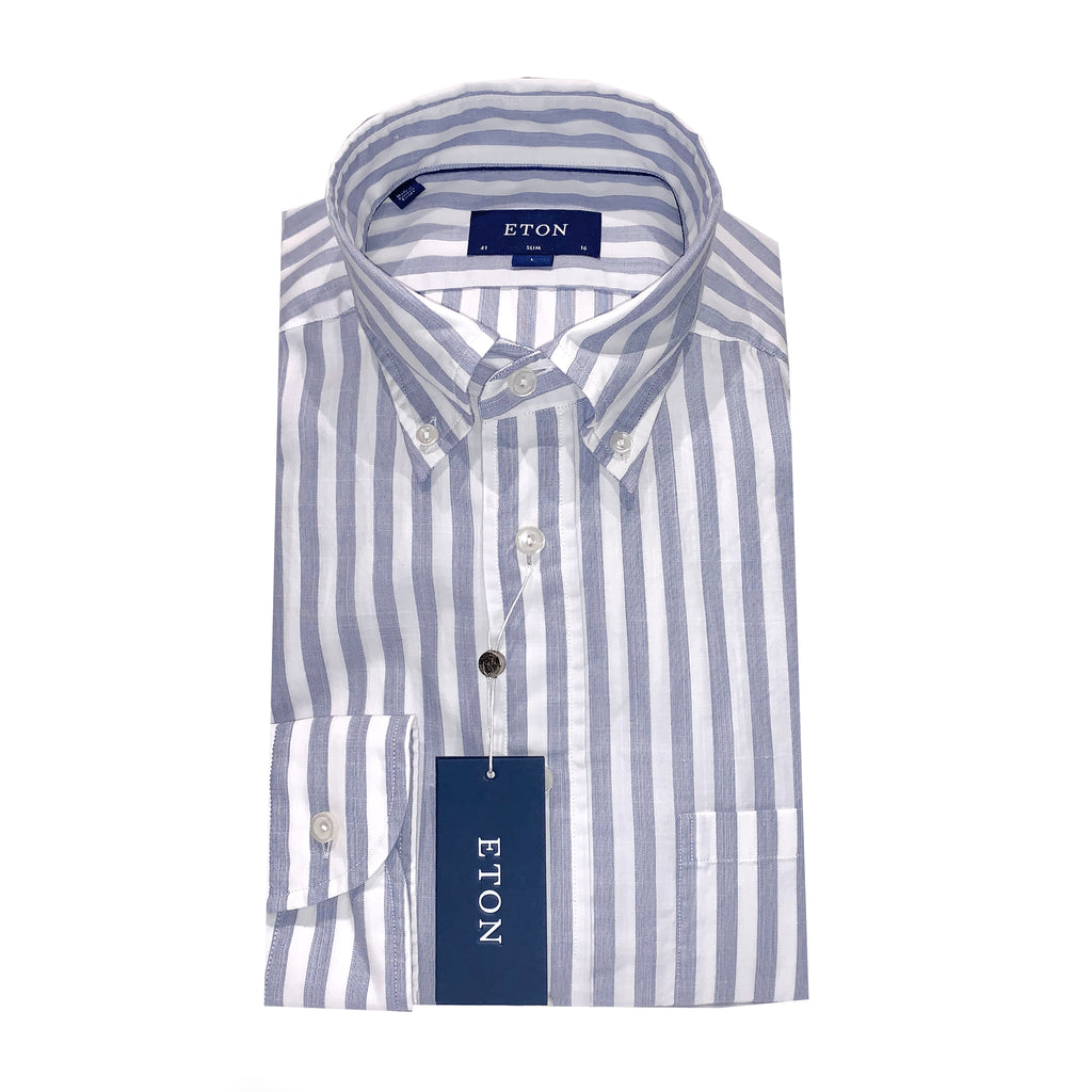 Eton Super Light Weight Light Blue Stripe Shirt