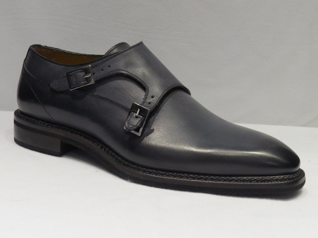 Jose Real Grey Double Monk Strap Plain Toe Shoes