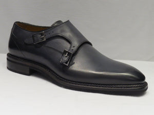 Grey Double Monk Strap Plain Toe Shoes