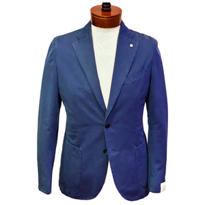 LBM Sport Jacket: Cobalt Blue Slim Fit, Combed Cotton, with Unlined Body & Soft Shoulder