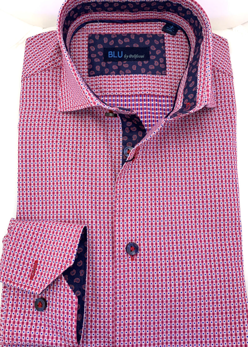 BLU by Polifroni Red Check Sport Shirt