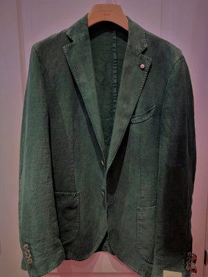 LBM Sport Jacket: Verde Green Slim Fit, with Unlined Body & Soft Shoulder