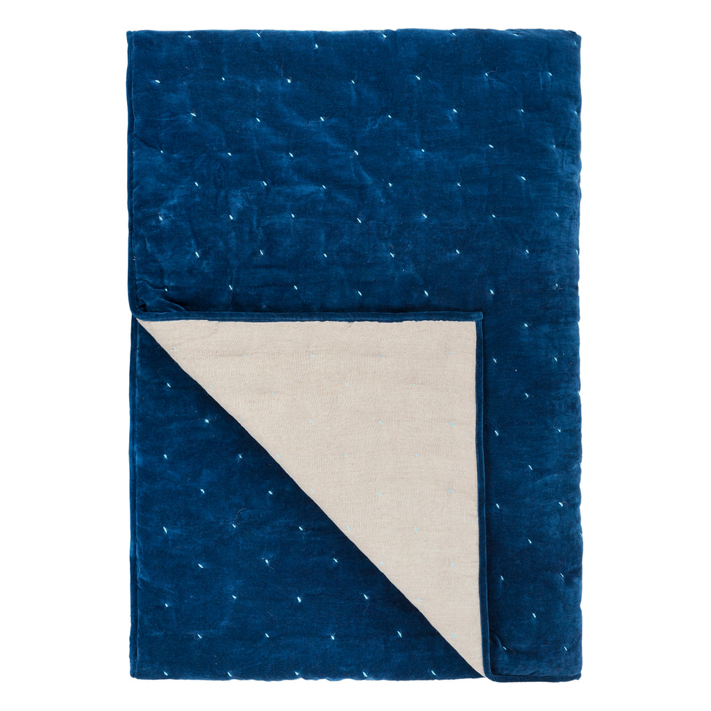 SEVANTI INDIGO & PALE BLUE QUILTED THROW