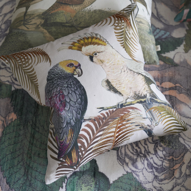 PARROT AND PALM PARCHMENT CUSHION