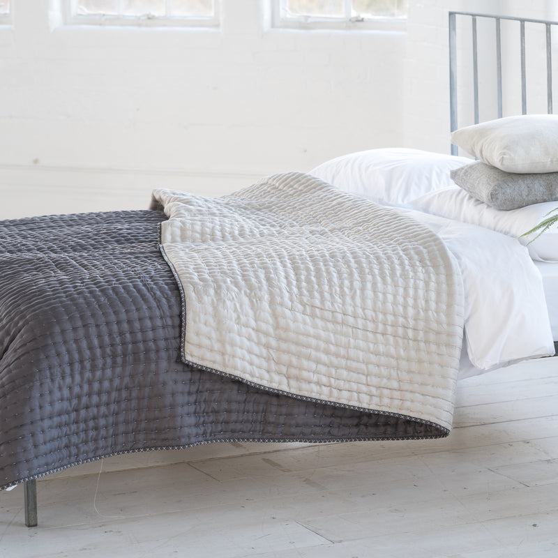 CHENEVARD SILVER & SLATE QUILTS & PILLOWCASES