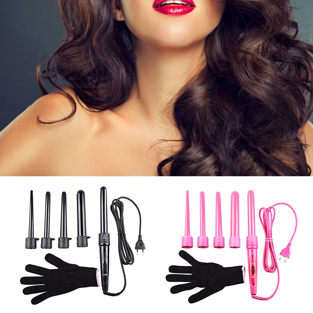 DODO Pro Salon 5-in-1 Interchangeable Hair Curling Iron Multi-size Roller Heat Resistant Glove Styling Set