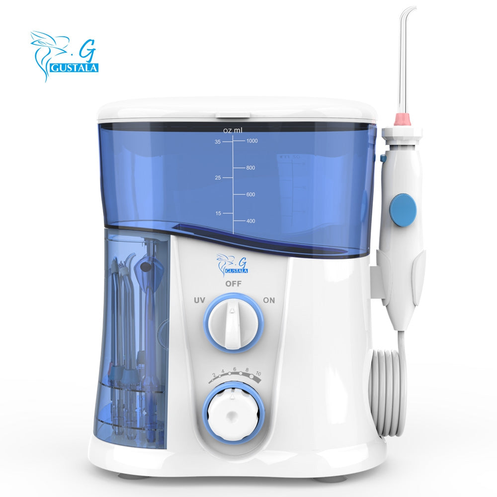 gustala Home Oral Irrigator Dental Water Flosser Jet Teeth 1000ml Waterproof IPX7 UV Sterilization