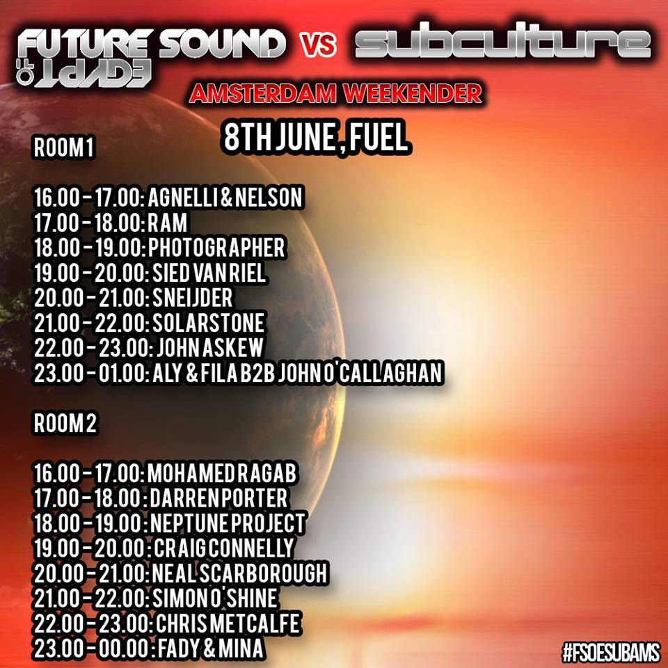 Set times for FSOE vs Subculture at Fuel