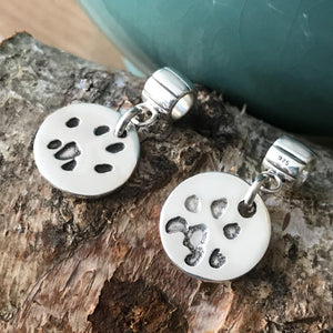 Paw Print Charm on Carrier-Silver Pet Prints
