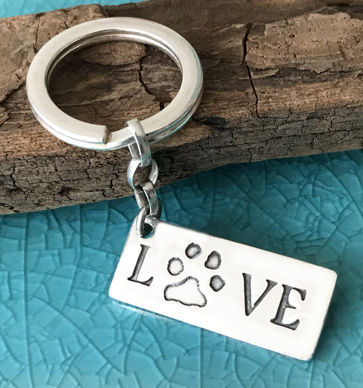 Paw Print Keyring - Love-Silver Pet Prints