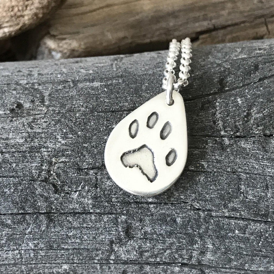 Paw Print Necklace - Fine Belcher-Silver Pet Prints