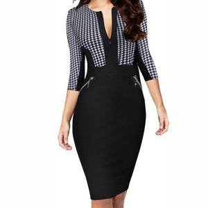 Plus Size Business Front Zipper Dress