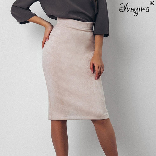 Suede Split Thick Stretchy Skirt
