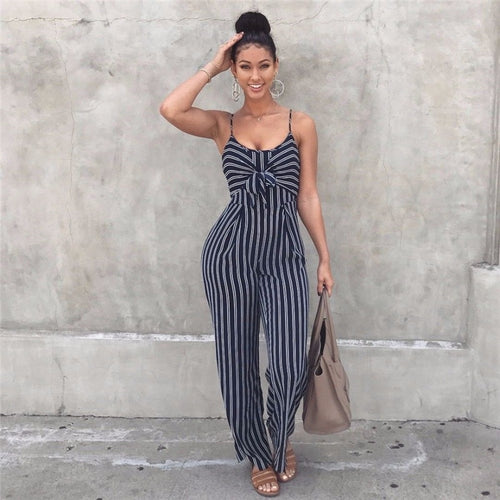 Sleeveless V-neck Jumpsuit Rompers