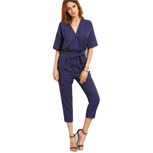 Solid Surplice Front Self Tie Jumpsuit