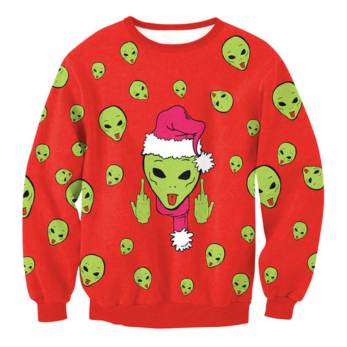 Green Alien Ugly Christmas Sweater