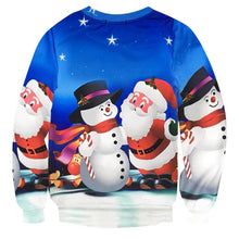 Load image into Gallery viewer, 3D Printing Snowman With Santa UGLY CHRISTMAS SWEATER
