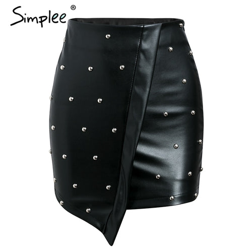 Rivet PU Leather Skirt