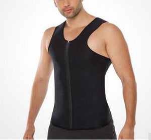 Men Sweat Neoprene Body Shapers Zipper Vest Tops Slimming Fitness Weight Loss